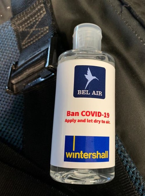 Disinfectant gel for our passengers.JPG